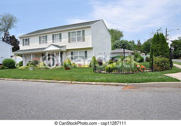 Suburban High Ranch Style Home - csp11287111