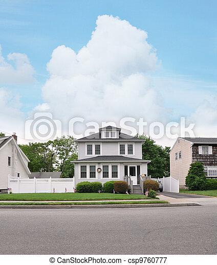 Suburban Home American Flag - csp9760777