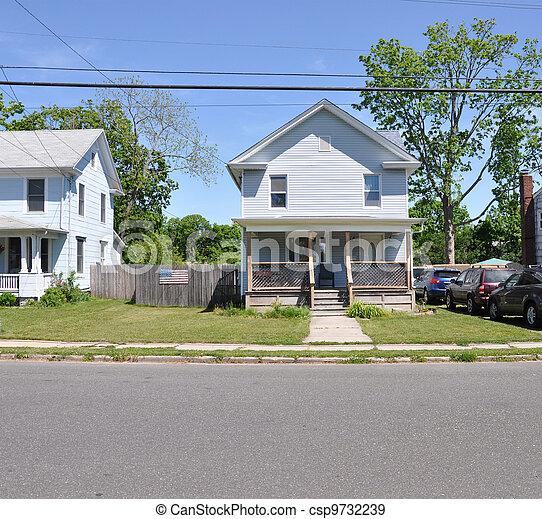 Suburban Home American Flag - csp9732239