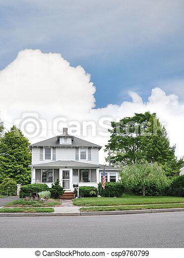 Suburban Home American Flag - csp9760799