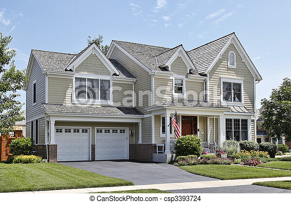 Suburban home with front porch - csp3393724