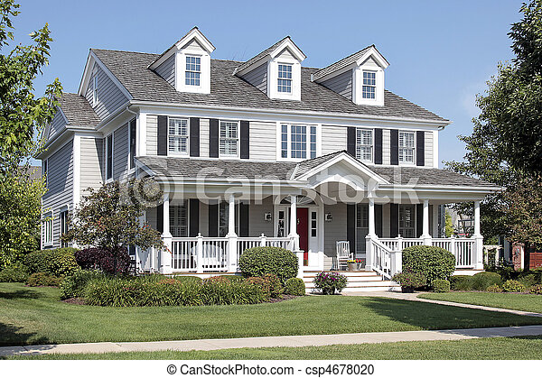 Suburban home with front porch - csp4678020