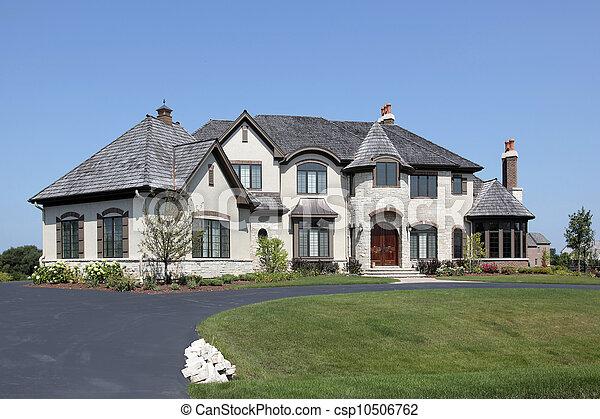 Suburban home with turret - csp10506762