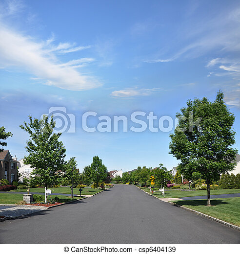 Suburban Neighborhood Street - csp6404139
