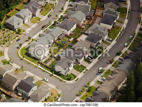 Suburban Street Corner - Aerial - csp7881396