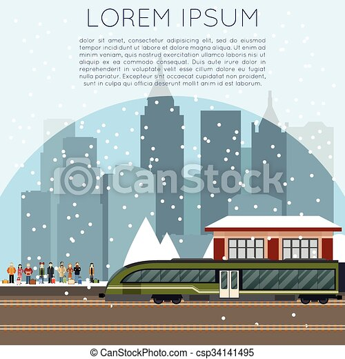Suburban train station - csp34141495