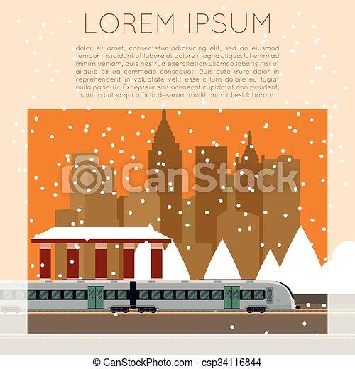 Suburban train station - csp34116844