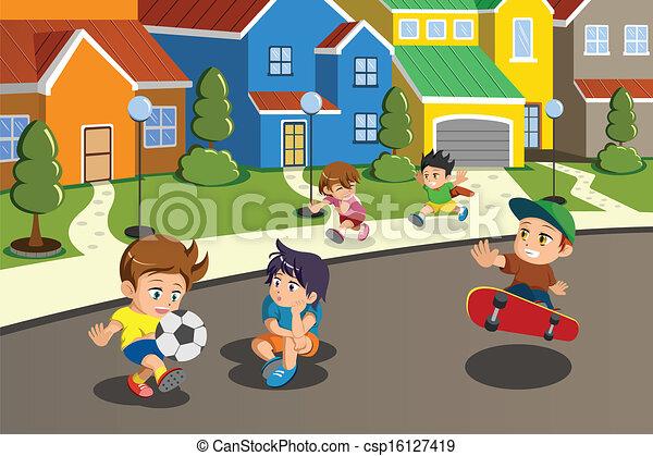 Niños jugando en la calle de un barrio suburbano - csp16127419