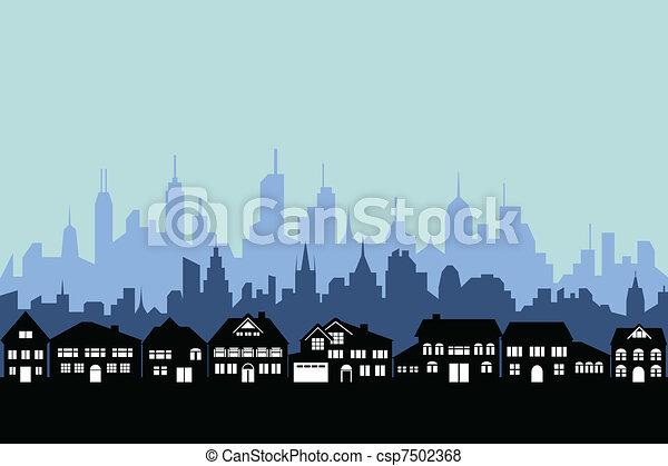 Suburbios y ciudad urbana - csp7502368