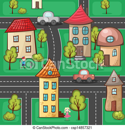 suburbs and houses on background of the nature and hills