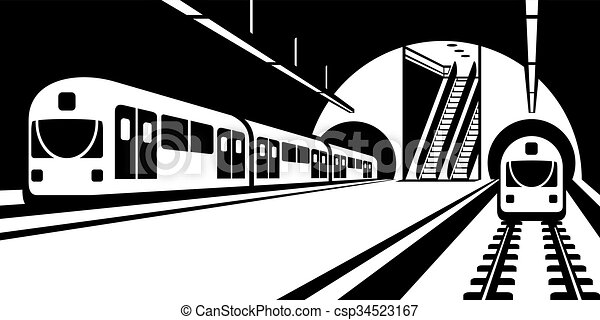 platform of subway station with trains vector illustration clip rh canstockphoto com subway clipart png clipart subway train