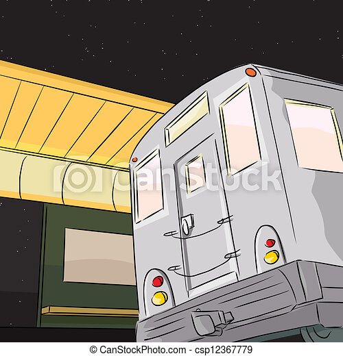 Subway Train at Night - csp12367779