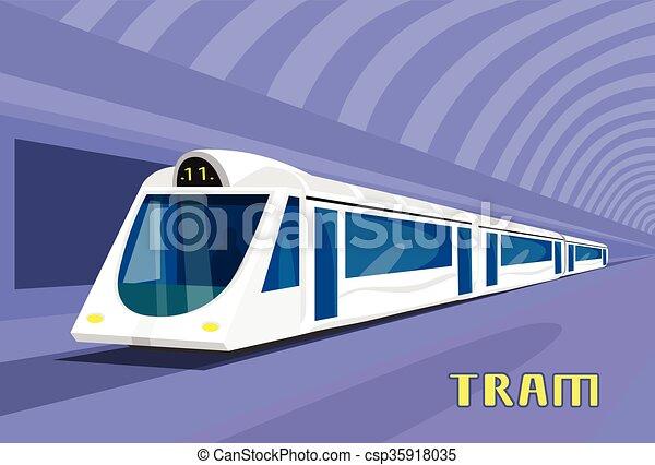 Subway Tram Modern City Public Transport Underground Rail Road - csp35918035