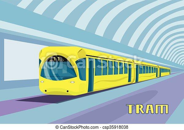 Subway Tram Modern City Public Transport Underground Rail Road - csp35918038