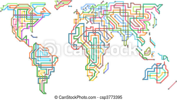 Subway World Editable Vector Illustration Of The World In The Style