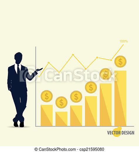 Empresario mostrando gráfico de diseño moderno. Gráfico de negocios para triunfar - csp21595080