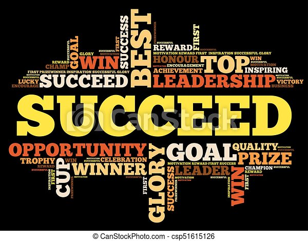 Succeed word cloud collage - csp51615126