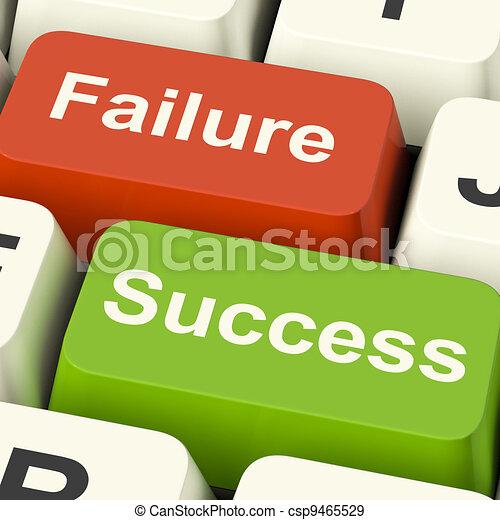 Success And Failure Computer Keys Shows Succeeding Or Failing Online - csp9465529