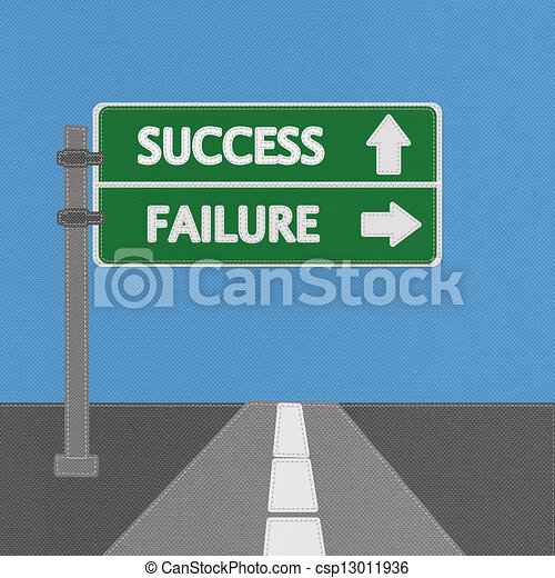 Success and failure highway sign concept with stitch style on fabric background - csp13011936