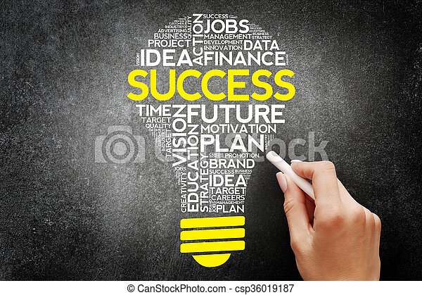 SUCCESS bulb word cloud, business concept - csp36019187