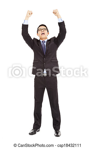 success businessman raised up and shout loudly - csp18432111