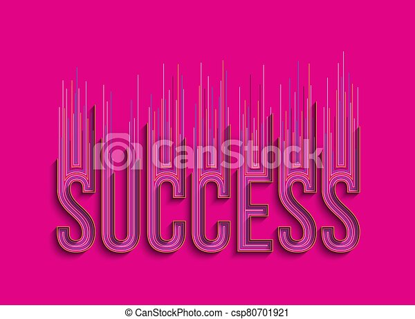 Success Calligraphic 3d Style Text shopping poster vector illustration Design. - csp80701921