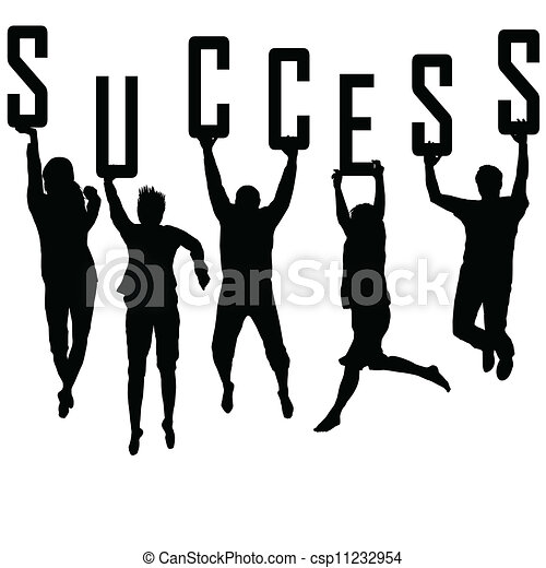 Success concept with young team silhouettes - csp11232954