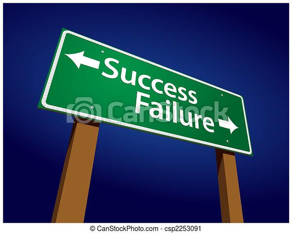 Success, Failure Green Road Sign Illustration - csp2253091