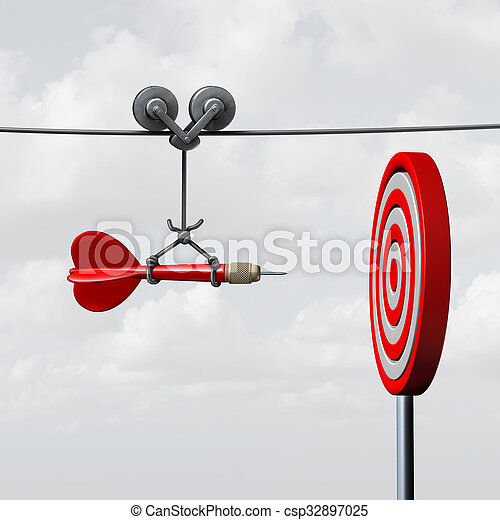 Success Hitting Target - csp32897025