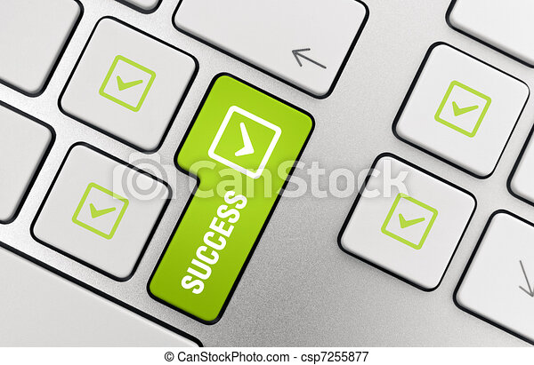 Success Key Concept Button With Success Text And Check Mark Symbols
