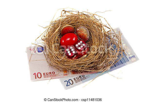 success nest with money and dice on white - csp11481036
