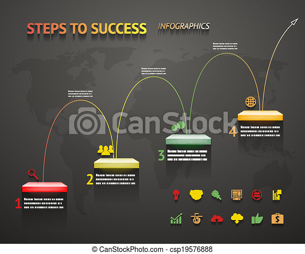 Success Option Steps Template Arrow and Staircase Infographic Icons Vector Illustration - csp19576888