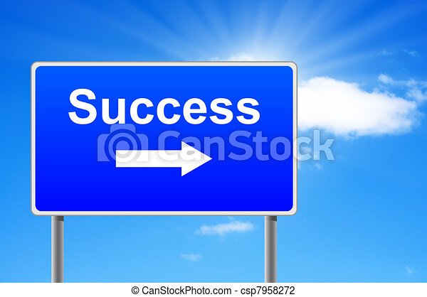 Success road sign with arrow on sky background. - csp7958272