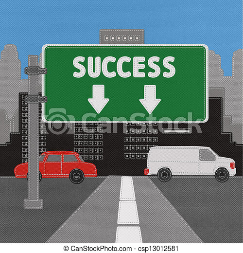 Success sign concept with stitch style on fabric background - csp13012581
