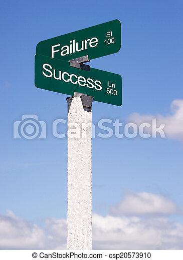 Success Signs Crossroads Failure Street Avenue Sign Blue Skies C - csp20573910