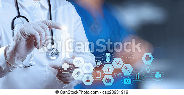 success smart medical doctor working with operating room as conc - csp20931919