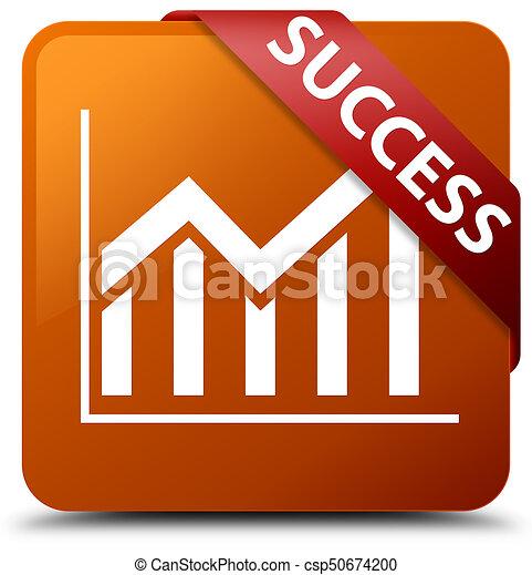 Success (statistics icon) brown square button red ribbon in corner - csp50674200