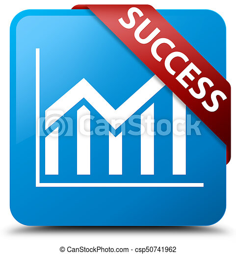 Success (statistics icon) cyan blue square button red ribbon in corner - csp50741962