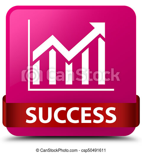 Success (statistics icon) pink square button red ribbon in middle - csp50491611
