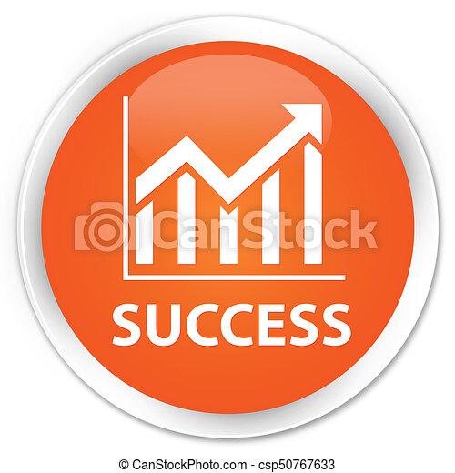 Success (statistics icon) premium orange round button - csp50767633