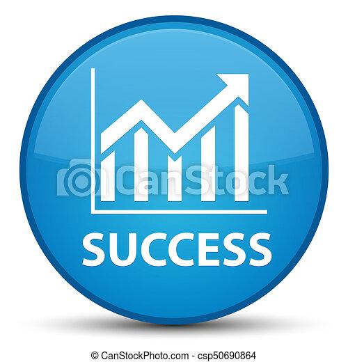 Success (statistics icon) special cyan blue round button - csp50690864