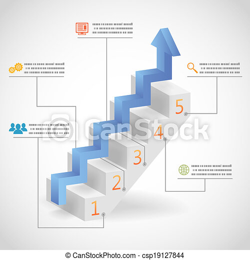 Success Steps Concept Arrow and Staircase Infographic Icons Vector Illustration - csp19127844