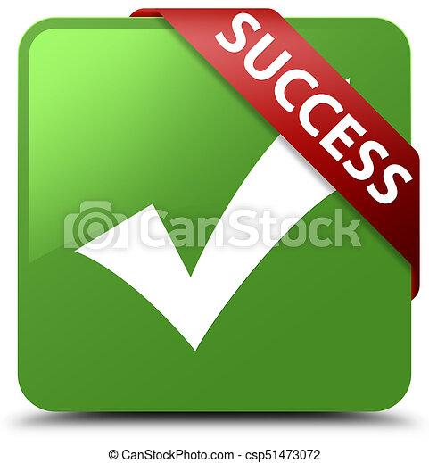 Success (validate icon) soft green square button red ribbon in corner - csp51473072