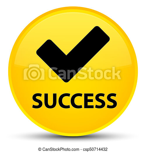 Success (validate icon) special yellow round button - csp50714432