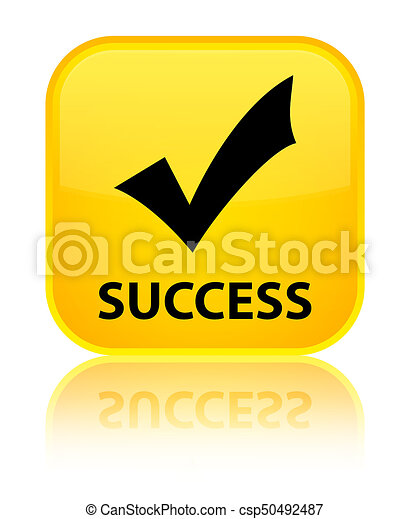 Success (validate icon) special yellow square button - csp50492487