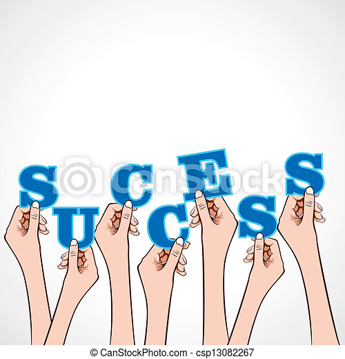 success word in hand  - csp13082267