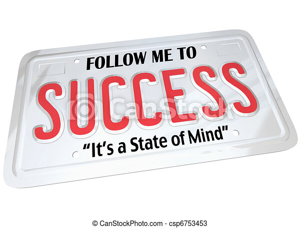 Success Word on License Plate Follow to Successful Future - csp6753453
