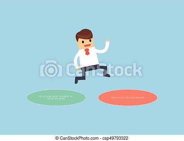 Hombre de negocios saltando de la zona de confort al éxito. - csp49793322