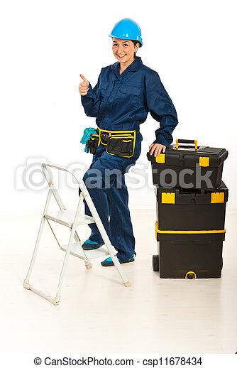 Successful builder woman - csp11678434