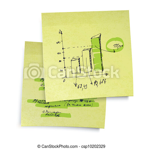 Successful business graph on sticky yellow paper. Realistic vector illustration, EPS10. - csp10202329